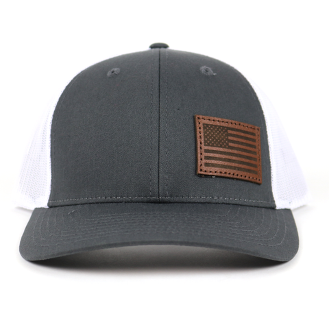 SA120 - Charcoal/White Chocolate Leather American Flag Patch Cap