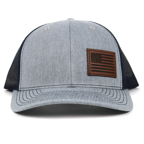SA121 - Heather Grey/Navy Chocolate Leather American Flag Patch Cap