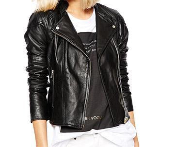 Black Women Biker Leather Jackets - Xosack