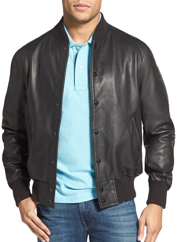 Buttoned Men Bomber Leather Jackets