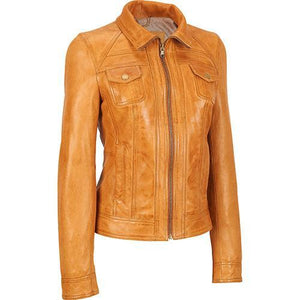 12ad1a9642c2 Super Goldenbrown Women Classic Leather Jackets