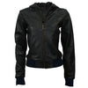 Hooded Women Bomber Leather Jackets - Xosack