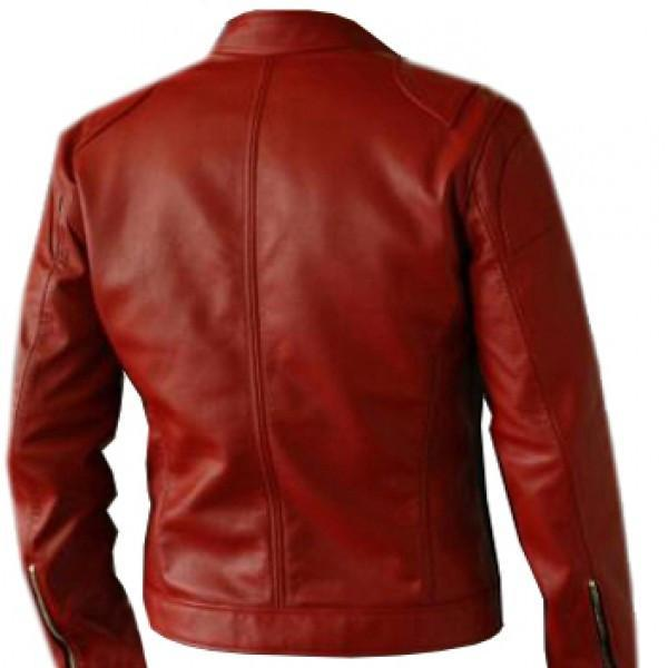 Soft Elegant Men's Red Leather Biker Jacket