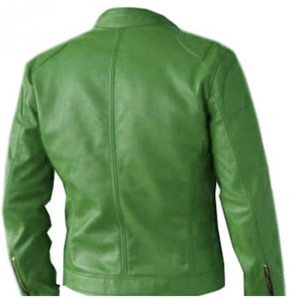 Regular Fit Part Wear Men Green Leather Jacket