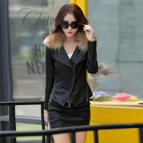leather jacket women  slim Really large raccoon fur collar