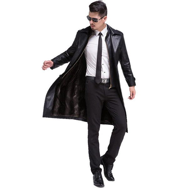 New Hot Casual Long Men Leather Jacket