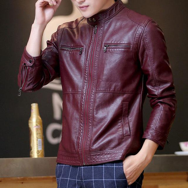 Leather jacket men fashion stand collar pilot sheepskin coat