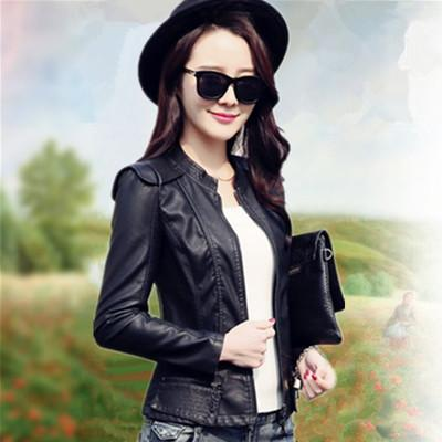 spring and autumn new women's short paragraph women's PU jacket