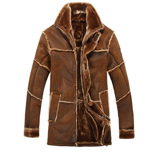 Faux Fur Coat Spliced Suede Leather Jacket