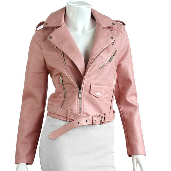 QIUXUAN Women PU Leather Jacket