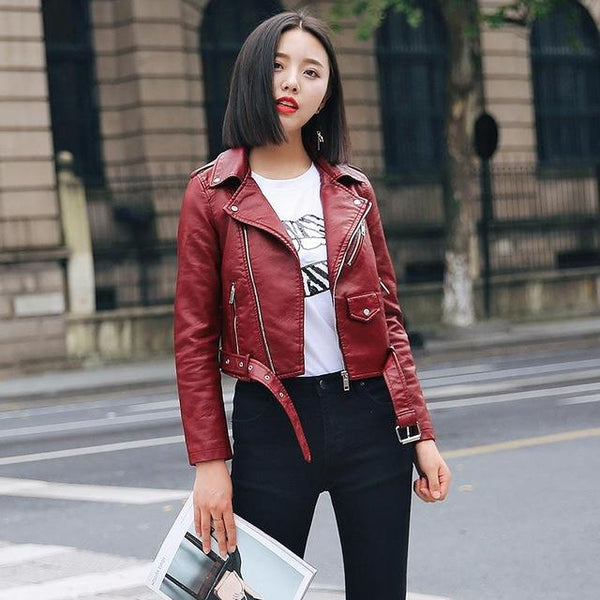 Motorcycle Coat Short Faux Leather Biker Jacket