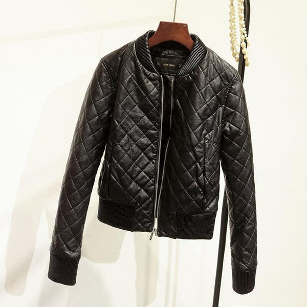 Short O-neck Thick Zipper Warm Faux Leather Jacket