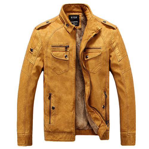 Thickening Wool Windbreak Waterproof Leather Jackets