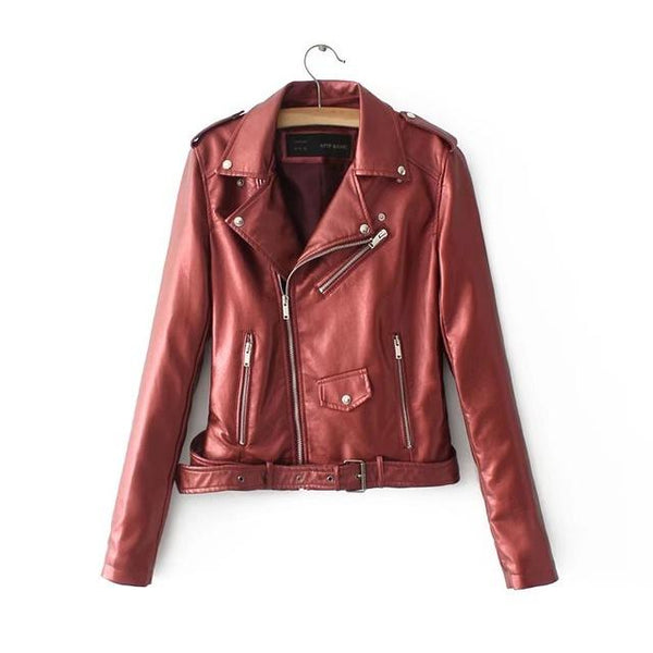 Bright Color Faux Leather Motorcycle Bomber Jacket Coat