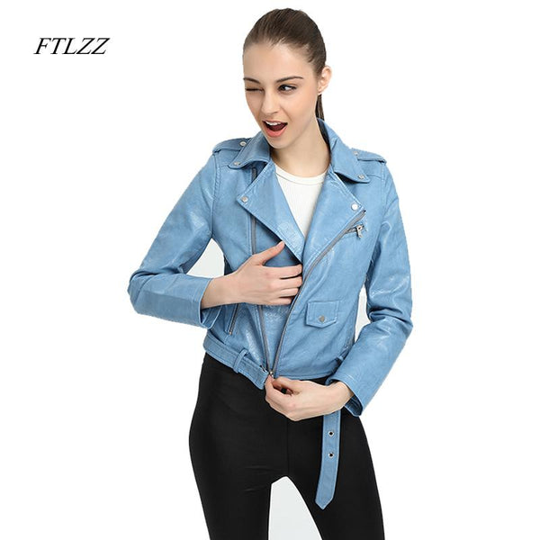Ftlzz Faux Leather Jacket Women
