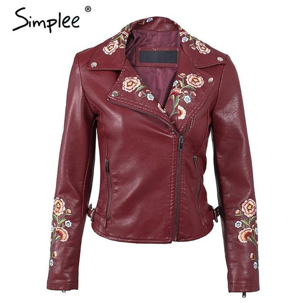 Simplee Embroidery basic jacket coat