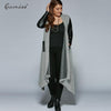 Gamiss Autumn Plus Size PU Leather Trim Longline Asymmetrical Coat Jacket