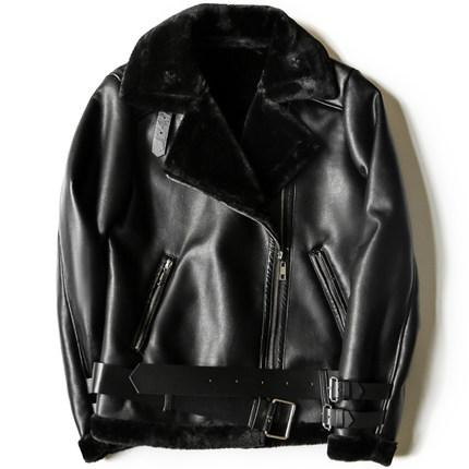 Black Red Women Faux Leather Jacket