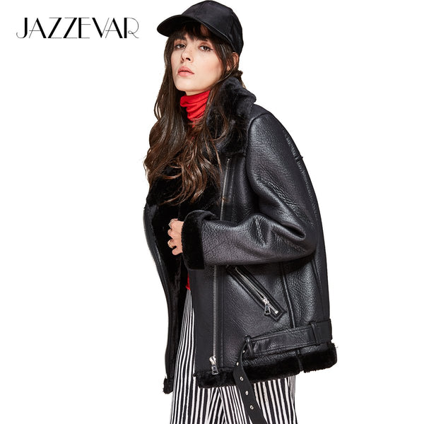 JAZZEVAR high fashion street women's PU leather jacket ca