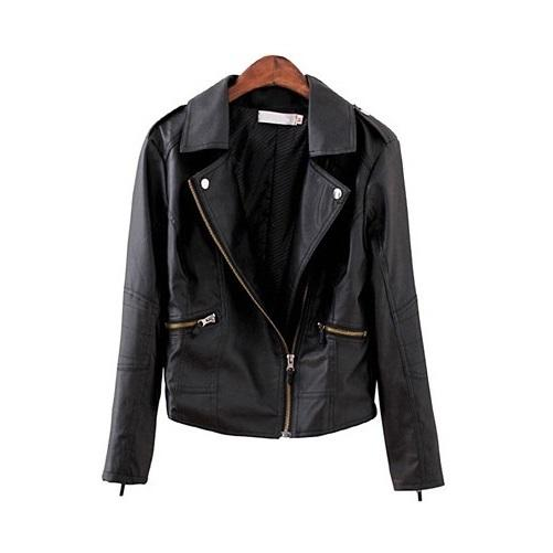 Turn Down Collar Women Leather Jackets