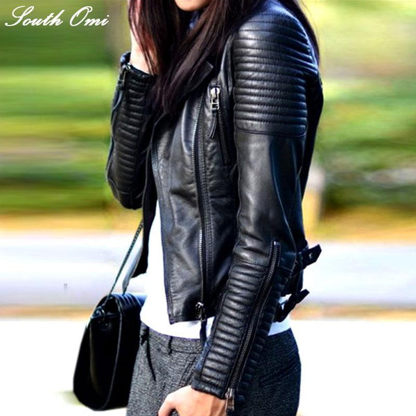 Fashion Autumn Winter Women Brand Faux Soft Leather Jackets