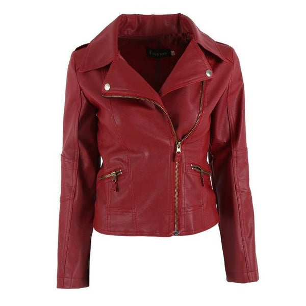 Women PU Leather Jacket Slim Motorcycle Zipper