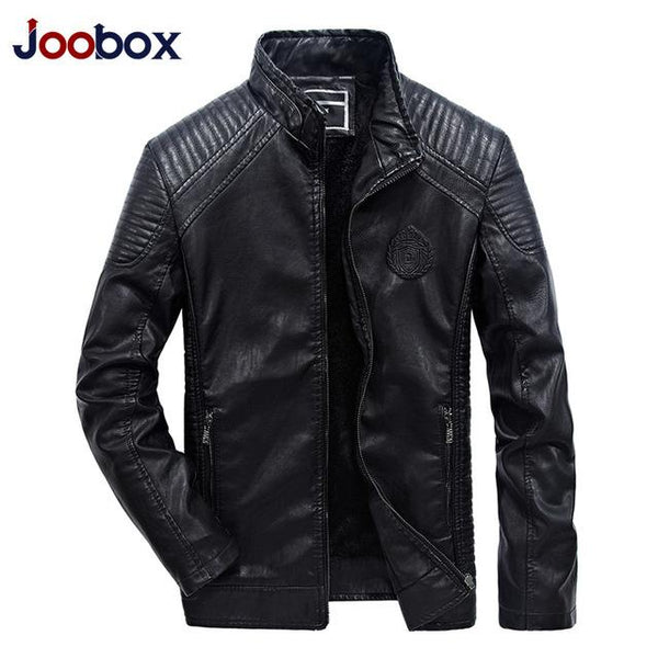 PU Faux Leather Jacket Men Good Quality