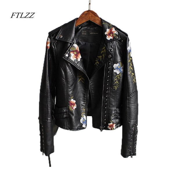 Ftlzz Women Floral Print Embroidery Faux Soft Leather Jacket