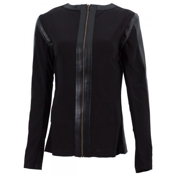 Women Black Collarless Leather Shirt Jacket