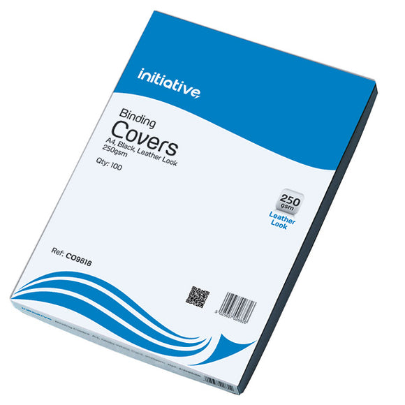 Initiative Leather Look Binding Covers A4 Black Pack 100