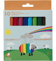 COLOURWORLD TODDLER MARKERS Box of 10