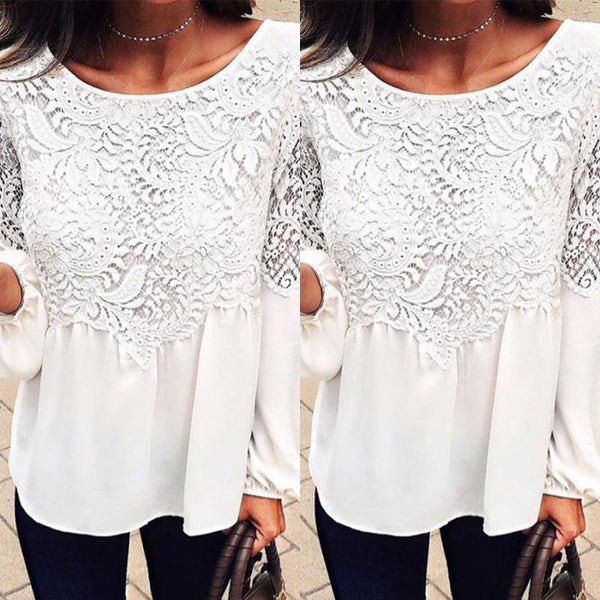 Round Neck Patchwork Hollow Out Plain Blouses