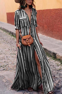 Plus Size Button Down Collar Stripes Roll Up Sleeve Half Sleeve Maxi Dresses