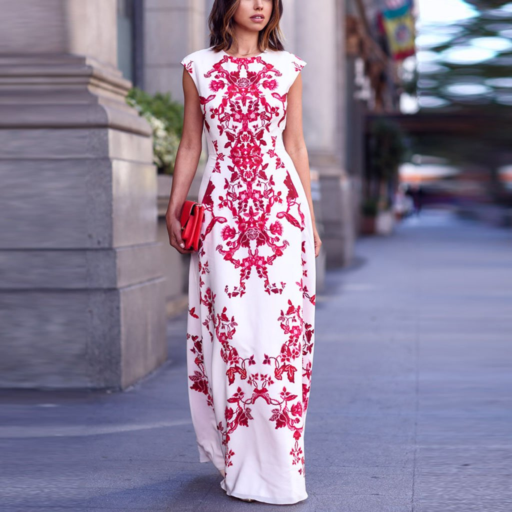 Bohemia Floral Print Sleeveless Maxi Dress