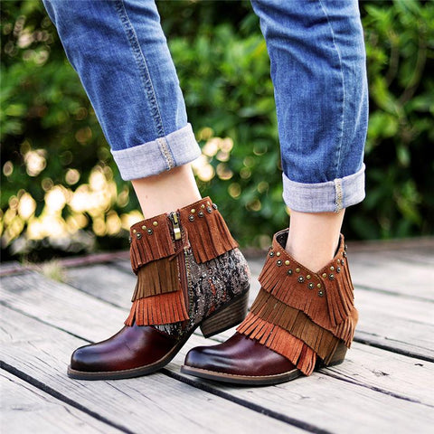 Women's Fashion Stitched Fringe Booties