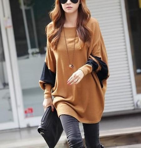 Casual Color Matching   Long Sleeved Loose Sweater T-Shirt Blouse