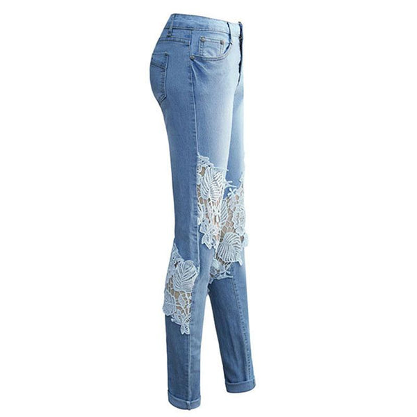 Lace Hole Hollow Denim Women's Pants
