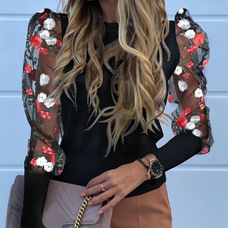 Embroidered Organza Mesh Puff Sleeve Shirt