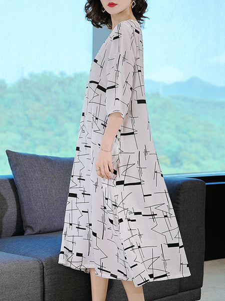Women Daily Cotton 3/4 Sleeve Printed Graphic Dress