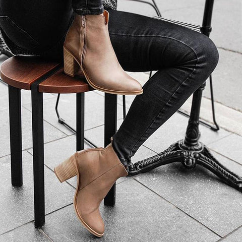Women's Fashion Solid Color Ankle Boots