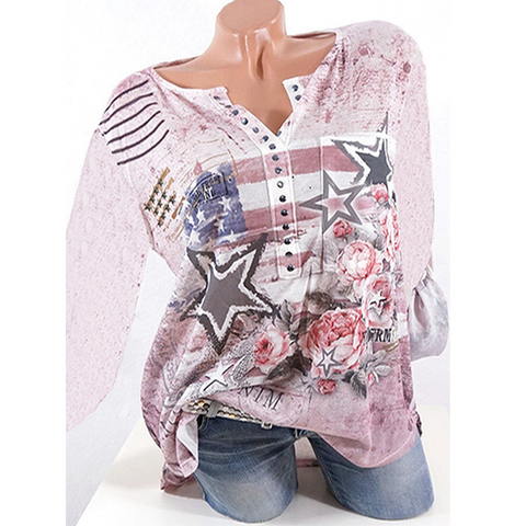 Autumn Spring  Cotton  Women  V-Neck  Beading  Floral Printed Star  Long Sleeve Blouses