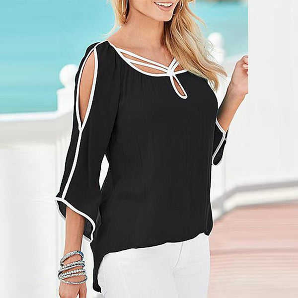 Scoop Neck Asymmetric Hem Contrast Trim Patchwork Blouses