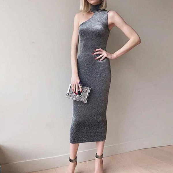 Turtle Neck Asymmetrical Collar Sleeveless Bodycon Dresses