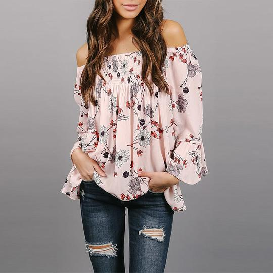Strapless Smocked Bodice Floral Printed Blouses