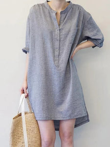 Stand Collar Women Shift Daytime 3/4 Sleeve Cotton Casual Dress