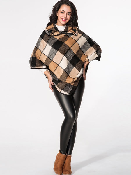 Asymmetric Neck Plaid Cape