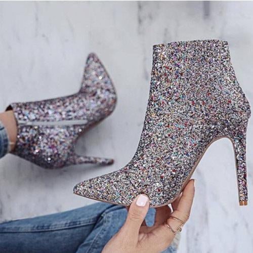 Ankle High Stiletto Heel Glitter Boots