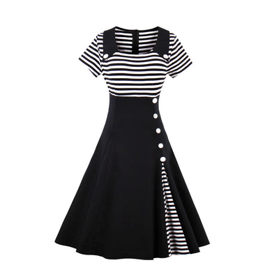 Stripes Vintage Retro Style Swing Cocktail Dress