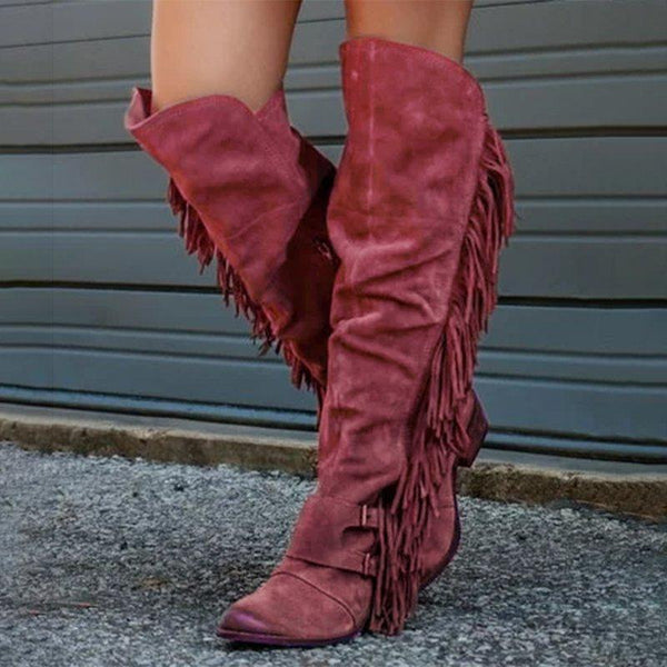 Low Heel Suede Winter Tassel Boots