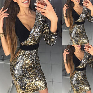 Deep V Sequined Fashion Bodycon Dresses